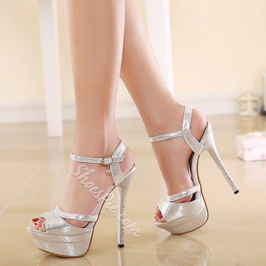 Shoespie Solid Color Sequined Peep-toe Platform Sandals