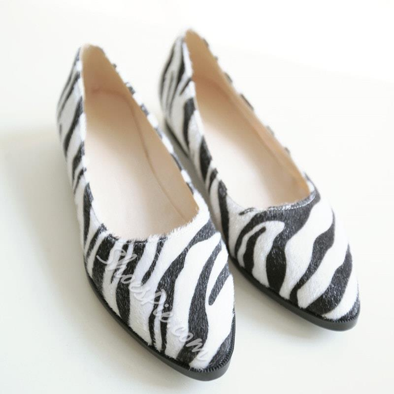 Shoespie Zebra Stripe Pointed-toe Loafer