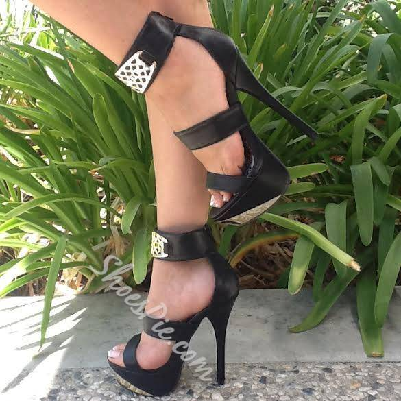Shoespie Metal Ankle Wrap Platform Sandals