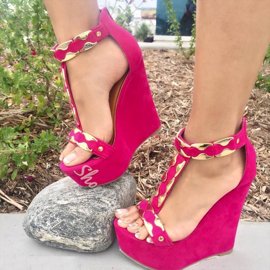 Shoespie Metal Solid Color Wedge Sandals