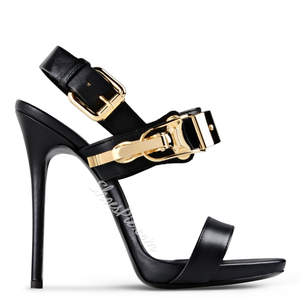 Shoespie Metal Decorated Solid Color Stiletto Sandals