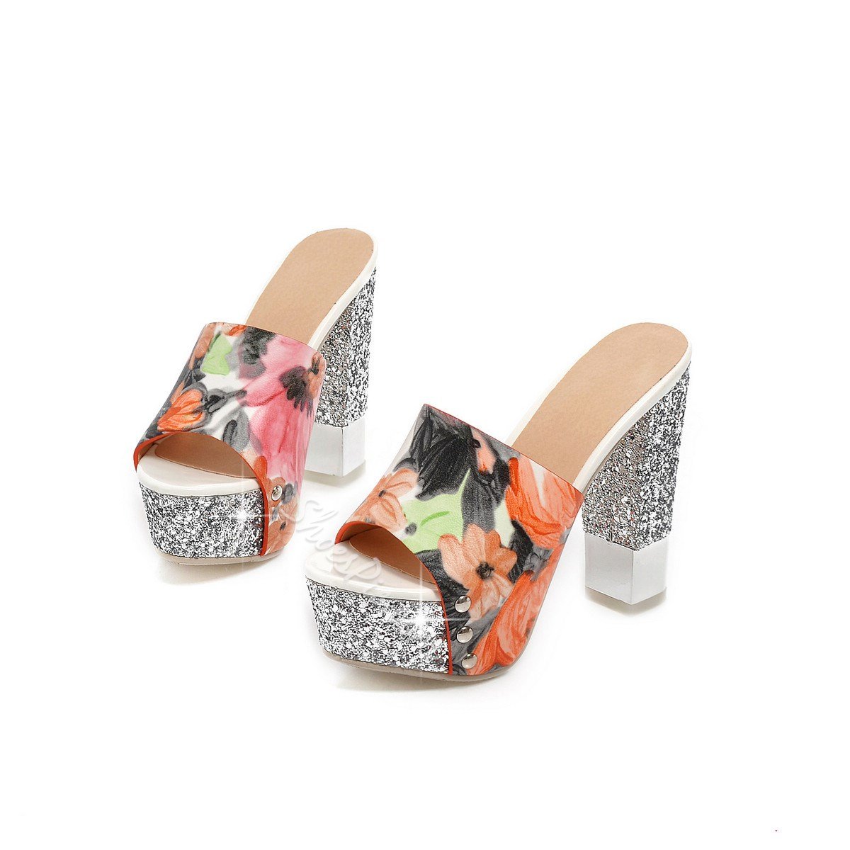 Shoespie Flower Sequined Chunky Heel Slippers