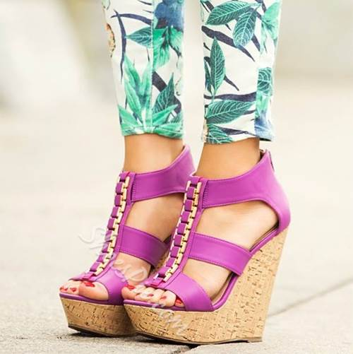 Shoespie Metal Decorated Solid Color Wedge Sandals