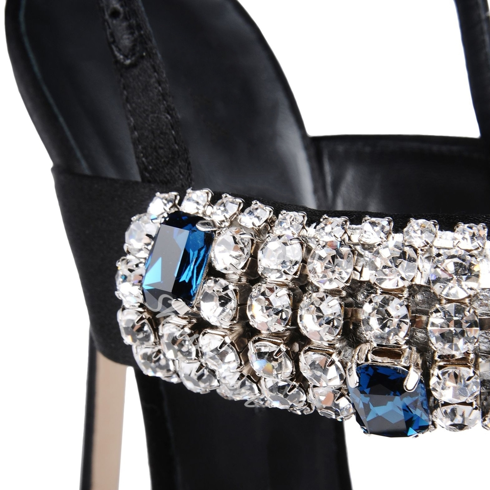 Shoespie Rhinestone Decorated Solid Color Stiletto Sandals