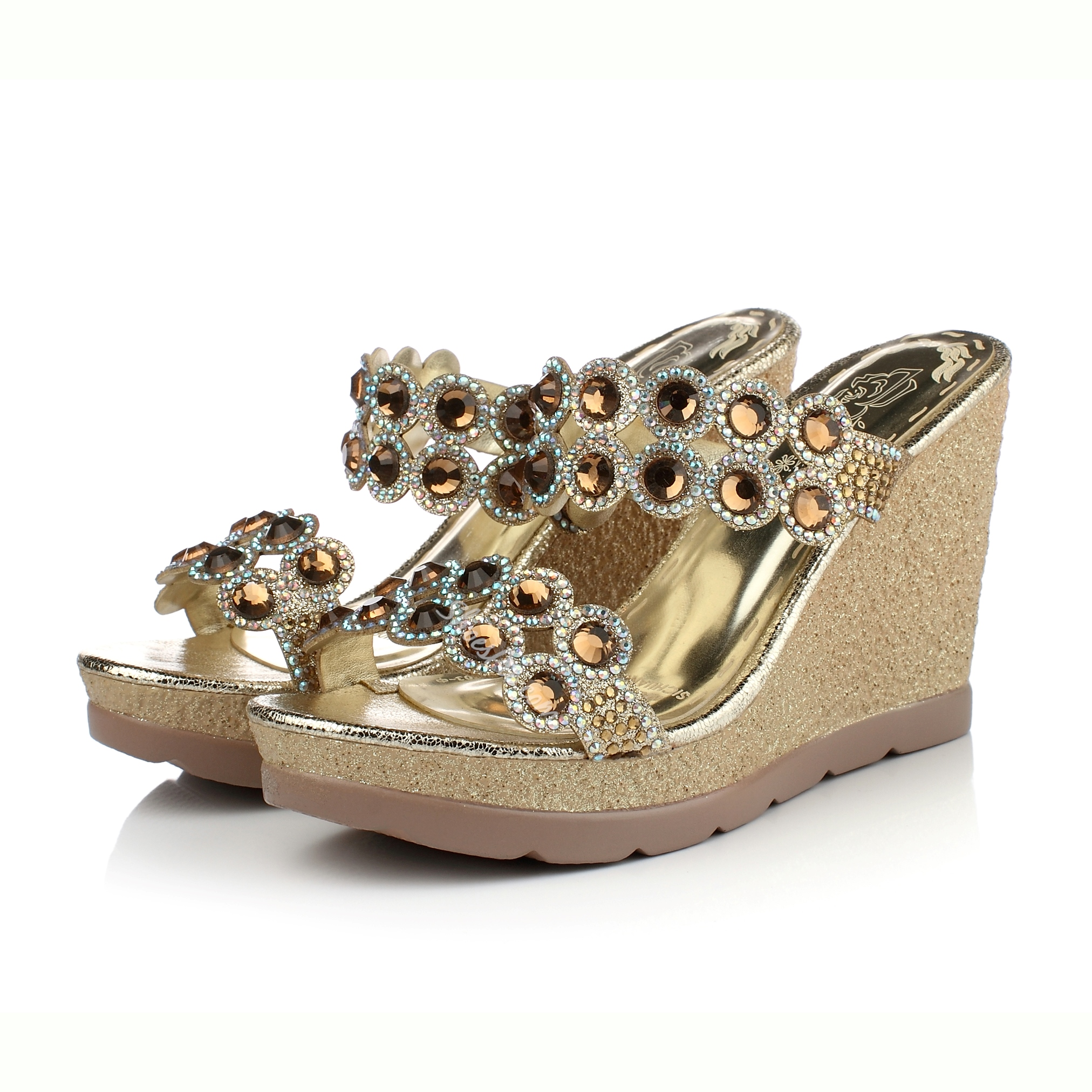 Shoespie Rhinestone Decorated Wedge Slippers