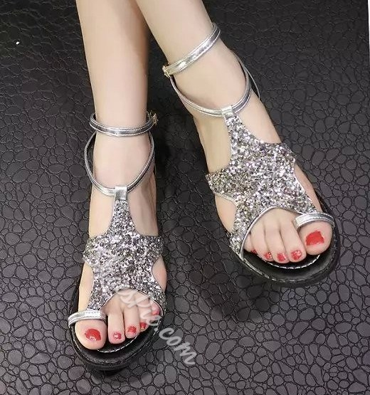 Shoespie Sequined Thong Flat Sandals