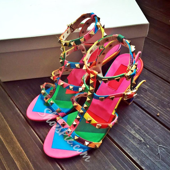 Shoespie Rainbow Color Chunky Heel Sandals
