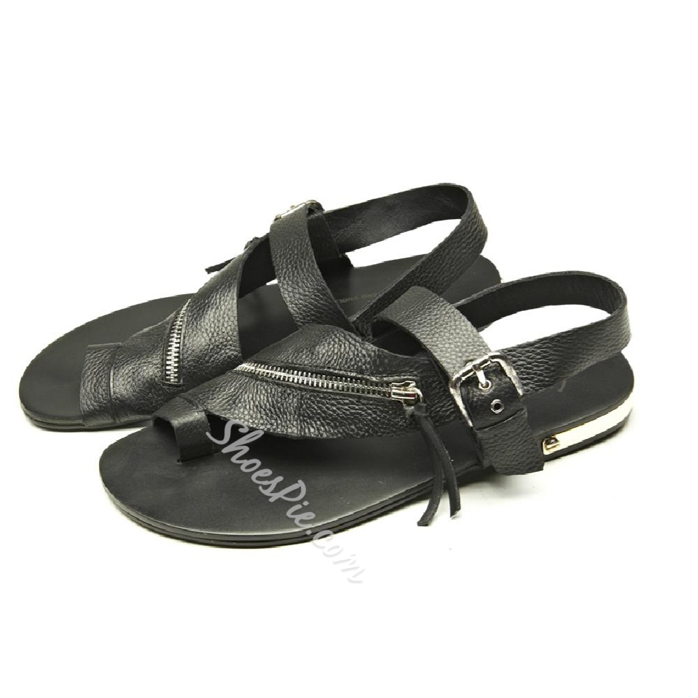 Shoespie Summer Comfortable Toe-Strap Zipper Decorated Men's Sandals