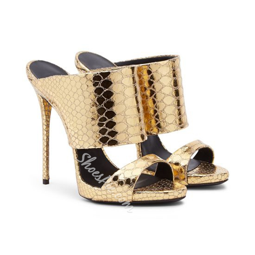 Shoespie Snakeskin Golden Color Stiletto Slippers