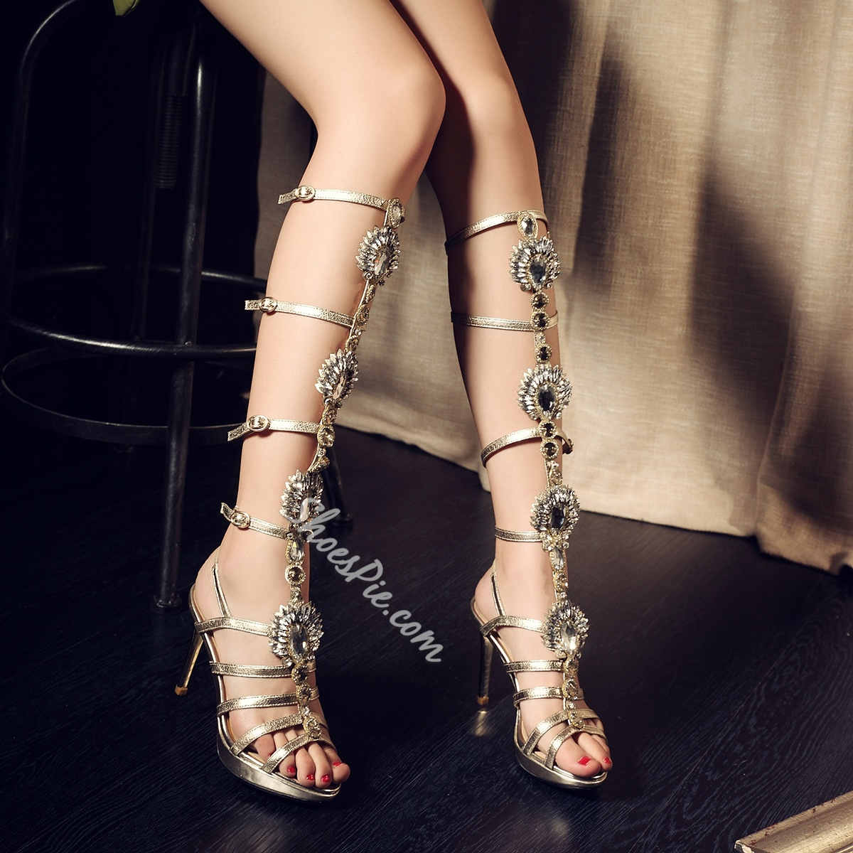 Shoespie Luxury Rinestone Cut Out Dress Gladiator Sandals