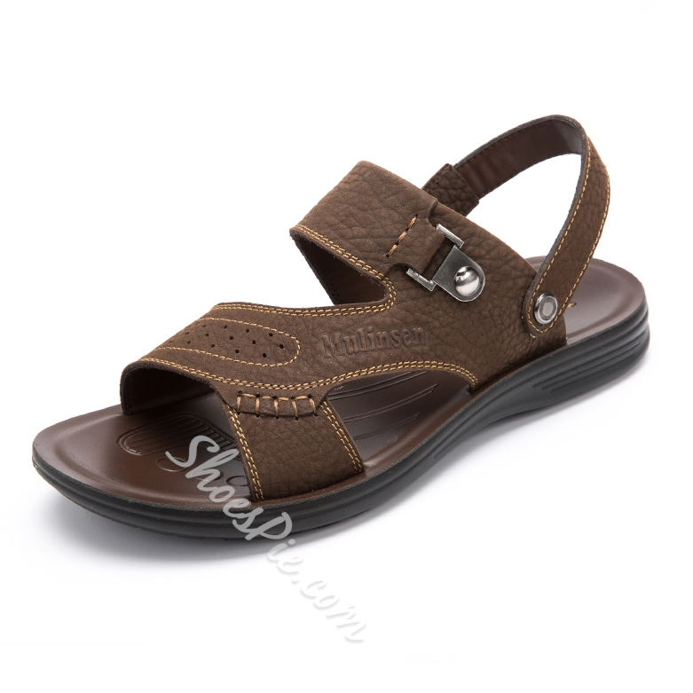 Shoespie Leather Stitches And Metal Decorated Men's Sandals