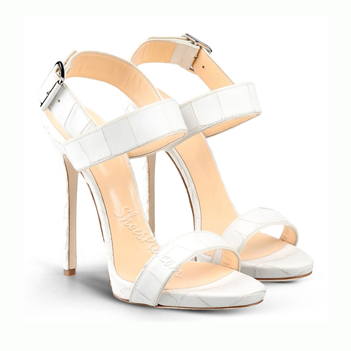 Shoespie Buckle Decorated Solid Color Stiletto Sandals