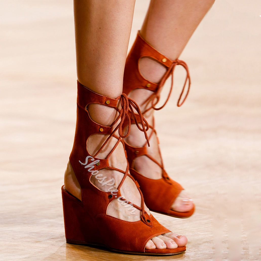 Shoespie Suede Cut-out Lace-up Rivet Wedge Sandals