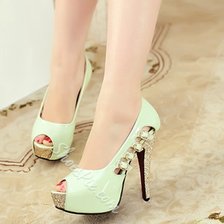 Shoespie Candy Color Sequined Peep-toe Heels