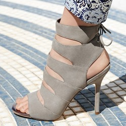Shoespie Solid Color Back Lace-up Dress Sandals