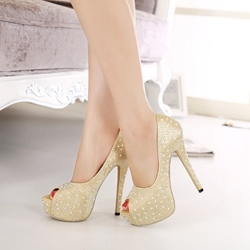 Shoespie Rinestone Peep Toe Stiletto Platform Heels shoespie