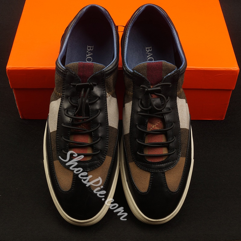 Shoespie Multi-Color Cloth And Leather Lace-Up Men's Sneakers