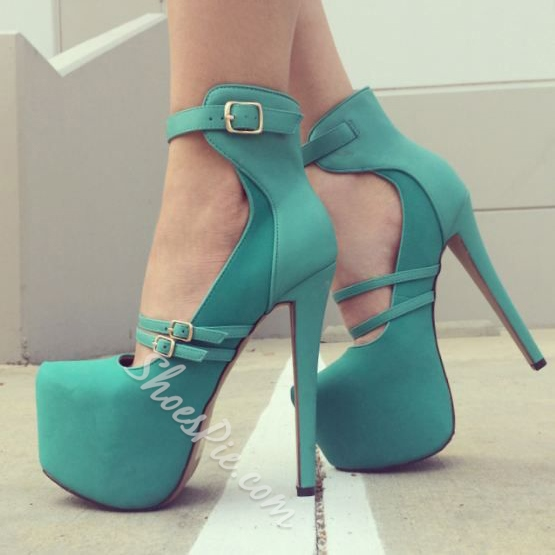 Shoespie Contrast Materials Buckle Platform Heels
