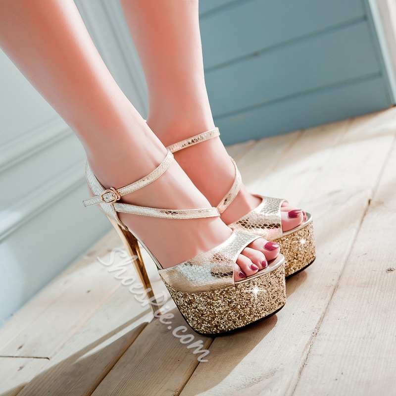Shoespie Sequined Solid Color Platform Sandals