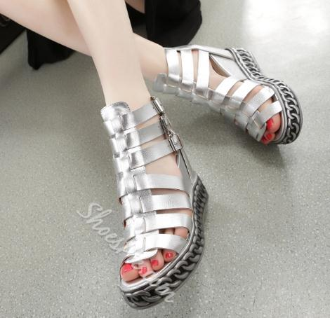 Shoespie Metal Chain Studded Wedge Sandals