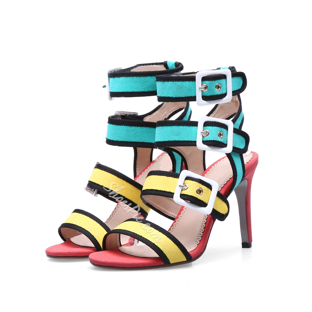 Shoespie Color Block Buckle Dress Sandals