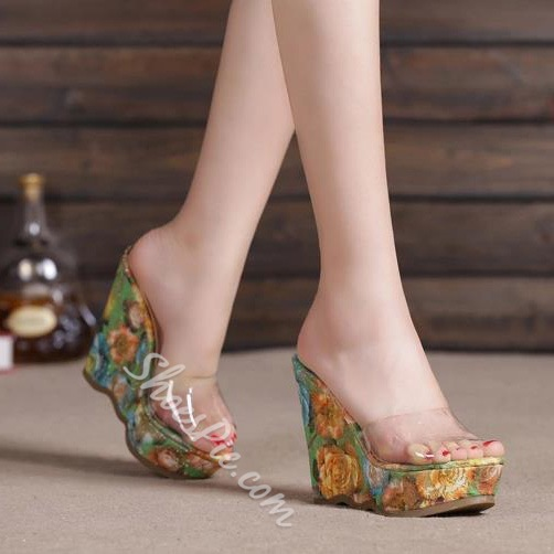 Shoespie Print Wedge Heel Sandal Slipper