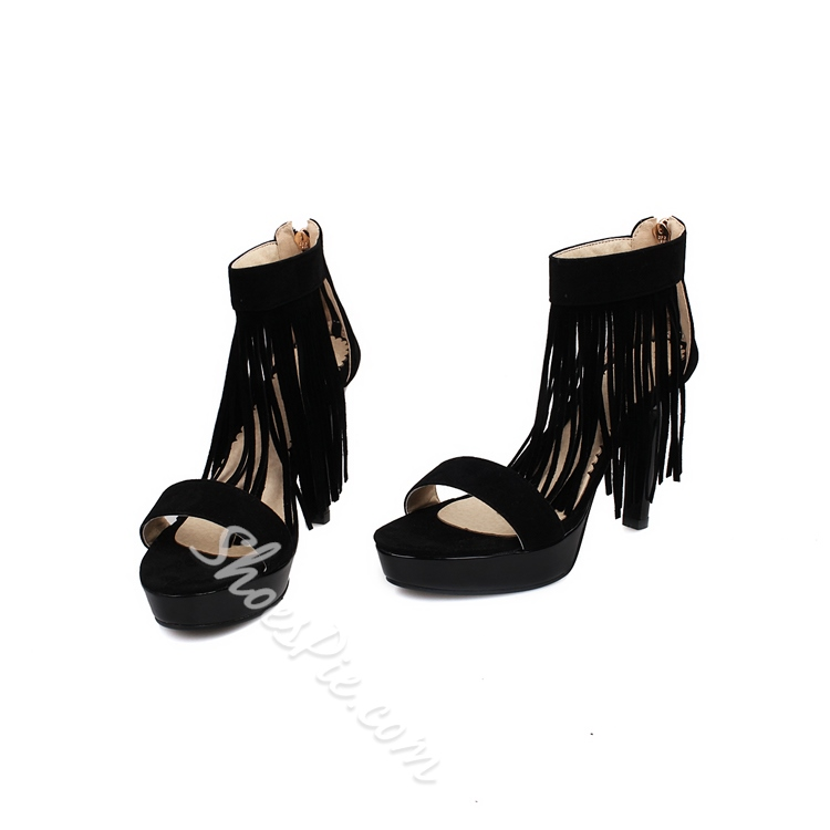 Shoespie Suede Tassel Zipper Dress Sandals