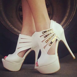 Shoespie Metal Cut-outs Platform Heels