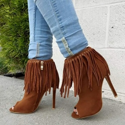 Shoespie Tassels Side Zipper Ankle Boots