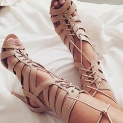 Shoespie Knee High Cut-out Lace-up Dress Gladiator Sandals