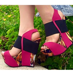 Shoespie Wedge Color Block Sandals