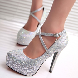 Shoespie Rhinestone Round-toe With Wrap Platform Heels