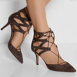 Shoespie Dark Coffee Lace-up Pointed-toe Stiletto Heels