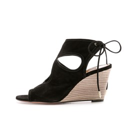 Shoespie Cut-out Back Lace-up Decorated Wedge Sandals