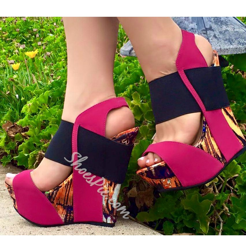 Shoespie Wedge Color Block Sandals Shoespie