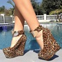 Shoespie Leopard Ankle Wrap Metal Wedge Heels