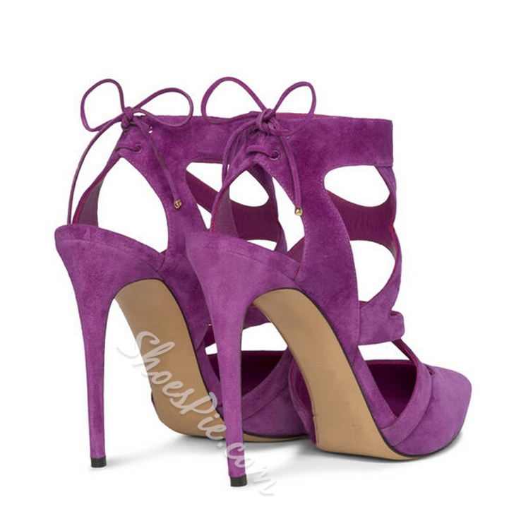 Shoespie Stiletto Heel Cut Out Point Toe Dress Sandals