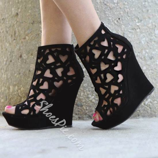 Shoespie Cut-out Decorated Wedge Sandals