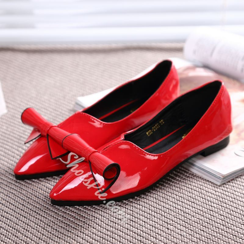 Shoespie Bowtie Point Toe Flats