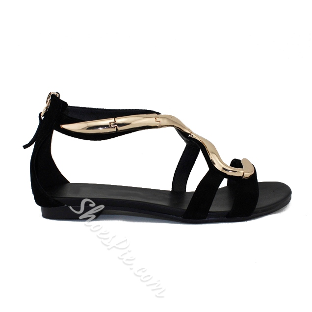 Shoespie Metal Snake Decorated Flat Sandals