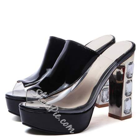 Shoespie Patent Leather Platform Chunky Heel Slippers