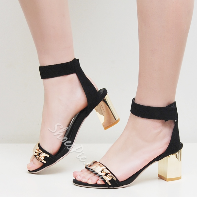 Shoespie Metal Chunky Heel Sandals