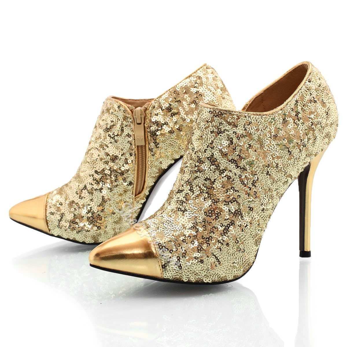 Shoespie Sequined Pointed-toe Ankle Boots