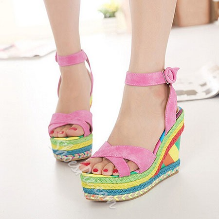 Shoespie Candy Color Rainbow Wedge Sandals