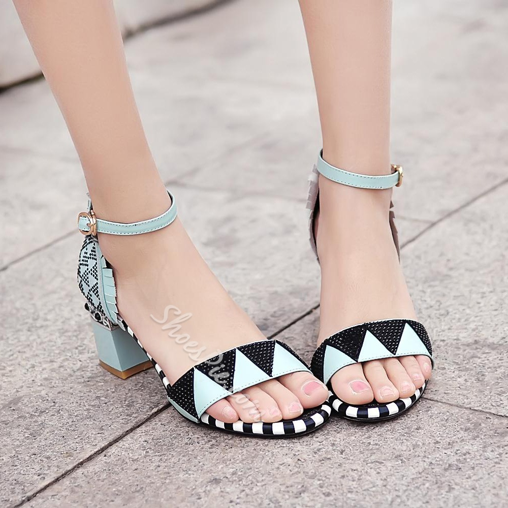 Shoespie Print Low Heel Sandals