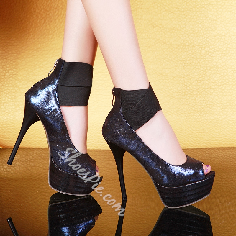 Shoespie Elastic Band Zipper Platform Heels