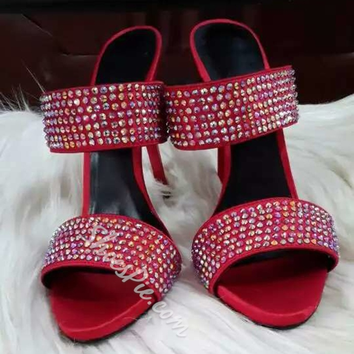 Shoespie Red Stiletto Heel Slippers