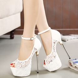 Shoespie Ankle Wrap Lace Peep-toe Platform Heels