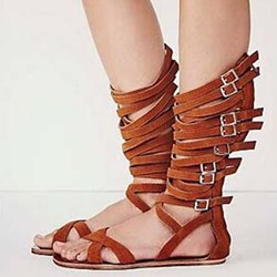 Shoespie Cut Out Mid-shaft Gladiator Sandals