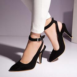 Shoespie Suede Ankle Wrap Pointed-toe Heels